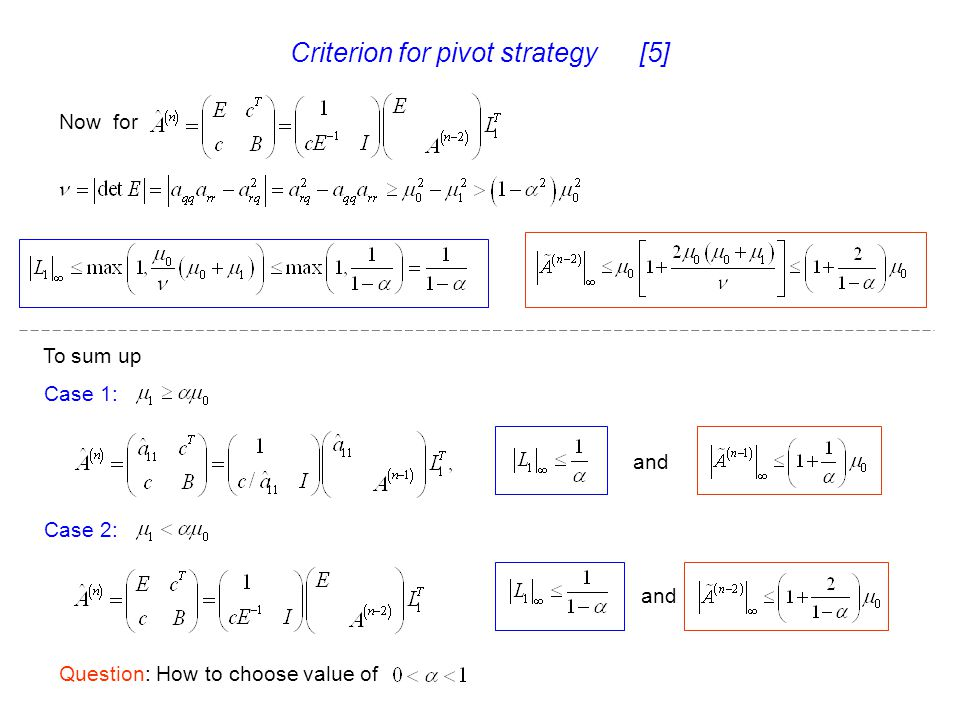 Criterion for pivot strategy [5]